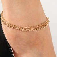 Triple Chain Link Anklet