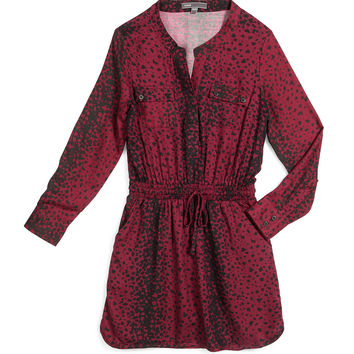 Long-Sleeve Printed Drawstring Shirtdress, Merlot, Size S-XL, Size: