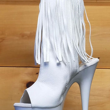Delight 1019 White Fringe Open Back/Toe Clear Platform Ankle Boot 6-11