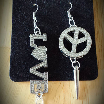 "BASKETBALL WIVES/Love & Hip Hop Inspired Earrings...""Love  and Peace"""
