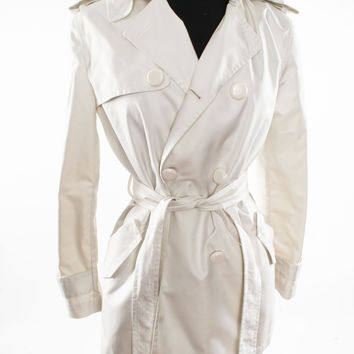 Short White Polyester Blend Trench Coat with Removable Hood