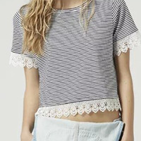 Striped Short Sleeve T-Shirt with Lace Trim