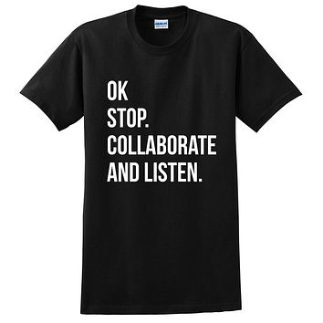 Ok stop collaborate and listen, gift ideas for her, for him, for teenager, for friend, funny T Shirt