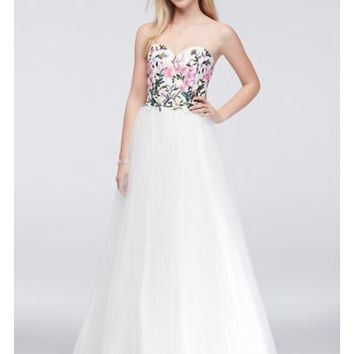 Embroidered Bodice Ball Gown with Lace-Up Back - Davids Bridal