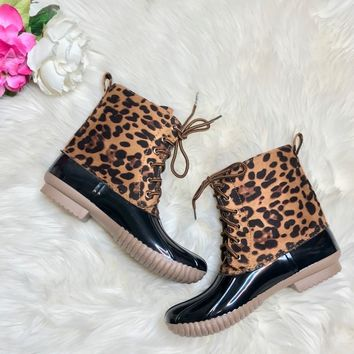 Leopard Duck Boots - Lace Up with Plaid Lining