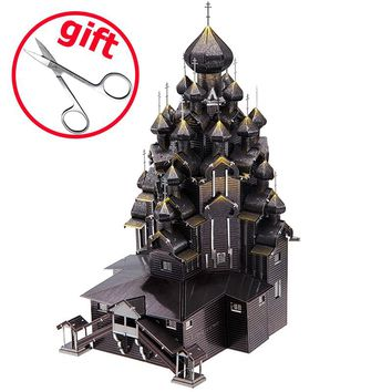 Piececool DIY 3D Metal Puzzel Toy Simulation Russia Kizhi Church Of The Transfiguration Model Kit Kids Toys Juguetes Adult