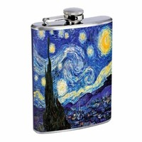 Vincent Van Gogh Starry Night Flask 8oz Stainless Steel D-141