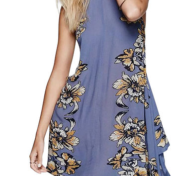 Blue Floral Keyhole Lace Up Back Asymmetric Hem Dress