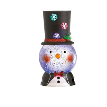 Snow Man Snow Globe - Features A Snow Globe With A Happy Snowman Face Topped With A Festive Hard Plastic Rotating Top Hat