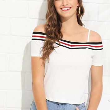 Cold Shoulder Contrast Striped Rib Knit Tee