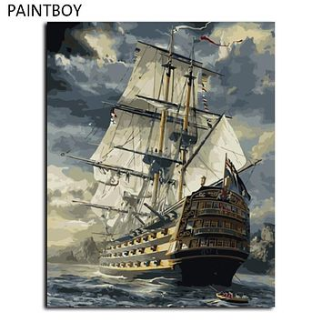 Hot Selling No Frame Sailing Boat DIY Oil Painting By Numbers Kit Paint On Canvas Home Wall Art Picture GX6923 40*50cm