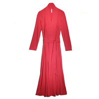 Matchplay Coral Long Luxury Knit Robe | Luxury Loungewear | Designer Robe | Between the Sheets Sleepwear