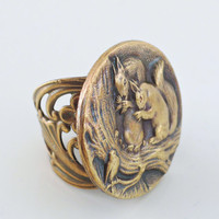 Vintage Ring - Squirrel Jewelry - Adjustable Ring - Nature Jewelry - Squirrel Ring - Vintage Brass Ring - handmade jewelry