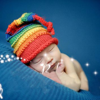 New Baby Hat Colorful Rainbow Knitting Hat Girls Boys Hat Cap Winter Handmade Crochet Costume Newborn Photography Prop
