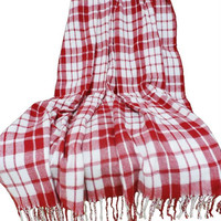 Lavish Home Cashmere-Like Blanket Throw - Red-White