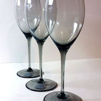Mikasa Long Stemmed Translucent Gray Crystal Stemware