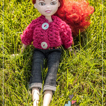 Upcycled doll freckled Mia