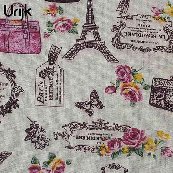 Urijk Butterfly Flower Linen Cotton Fabric DIY Crafts Patchwork Dress Sofa Curtain Sewing Accessories 98x48cm