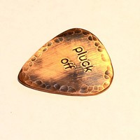 Pluck Off Copper Rustic Guitar Pick with Antiqued Patina and Hammered Texture- playable