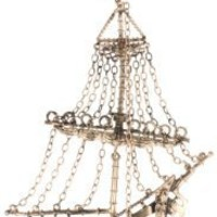 "HAN CHOLO ""Shadow Series"" Rose Plated Brass 3D Ghost Ship Necklace"