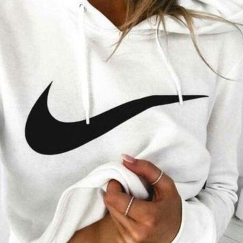 Nike Women Casual Print Long Sleeve Hoodie Top Sweater Pullover I
