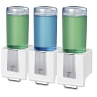 Shampoo and Soap Dispensers by ToiletTree Products. (White, Triple)