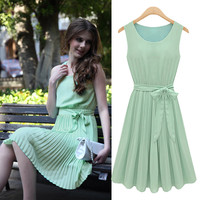 Plain Sleeveless Tie-Waist Pleated Dress