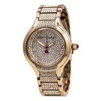 Betsey Johnson BJ00424-03 Women's Pave Crystal Rose Gold Dial Rose Gold Steel Bracelet Watch