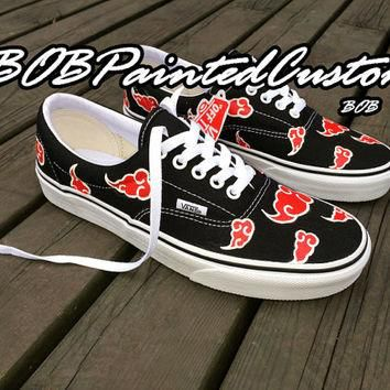Lace Up Black Vans Custom Anime Design Hand Painted Canvas Shoes For Men Women
