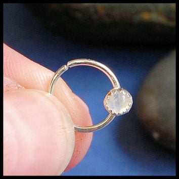 Rainbow Moonstone Catchless / Seamless Nose Ring - CUSTOMIZE