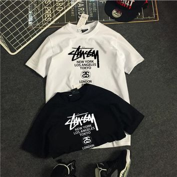2018 European and American stussy short sleeve T-shirt men's half sleeve size loose matching jacket