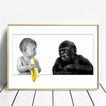 Canvas Artwork Lovely Posters and Prints Orangutan Wall Art Painting Wall Pictures for Living Room Decoration