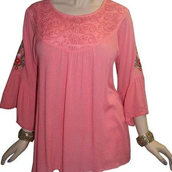 Rayon Crape Bohemian Medieval Bell Sleeve Embroidered Tunic Blouse