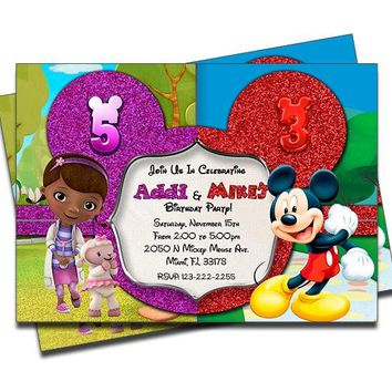 Doc McStuffins and Mickey Mouse - Double Birthday Invitations