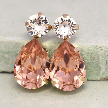 Blush Pink Stud Earrings,Statement Pink Blush Drop Earrings, Peach Crystal Stud Earrings,Teardrop Blush Earrings,Bridal Blush Pink Earrings