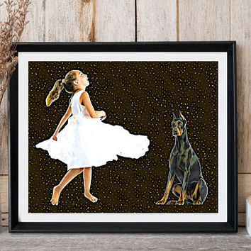 Girls room wall decor Doberman print Dog print Girl with dog Girl white dress Large poster Pop art Girly gift Modern art Ready for print