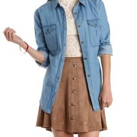 Med Wash Denim Denim Chambray Button-Up Top by Charlotte Russe
