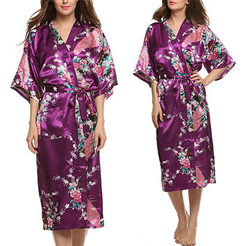 Women's Long Style Peacock Kimono Robe-5 Colors