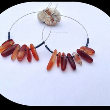 Simple hoop earrings carnelian gemstones with .925 earring hook