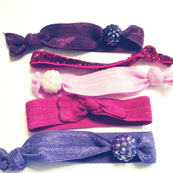 Pave Round Bar Purple and Fuchsia Rhinestone Bow Hippie Hair Ties Sparkle Girly Embellished Set of Five DOLLAR SHIP in US