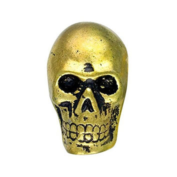 Metal Skull Drawer Dresser Cupboard Pull Knob (Antique Brass)