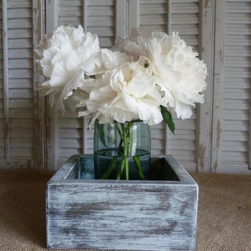 Wooden Box, Storage Box, Cottage Chic Decor, Wedding Decor, Wooden Planter Box, White Blue, Living Room Decor, Shelf Decor
