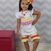 Preschool Girls Outfit - Preschool Princess - First Day of Preschool Outfit - Back to School Outfit - Matching Chunky Necklace and Headband