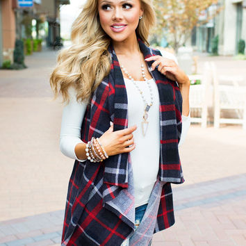 Maybe One Day Plaid Vest Charcoal/Red