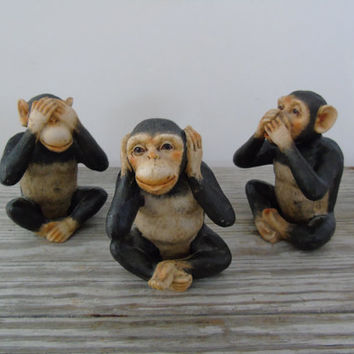 Three Wise Monkeys Pictorial Maxim See No Evil Hear No Evil Speak No Evil 3 Resin Monkey Figurines