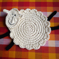 Crochet Sheep Coasters Pattern, DIY