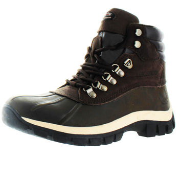 KingShow Men's Waterproof Leather Duck Boots Snow Winter