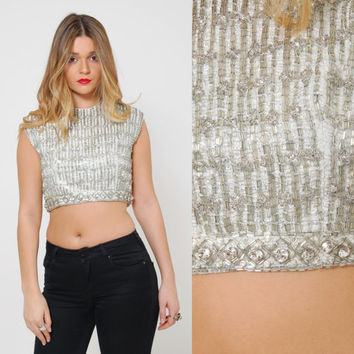 Vintage 60s BEADED Crop Top Sleeveless Silver METALLIC Evening Top Pin Up Retro Cocktail Top