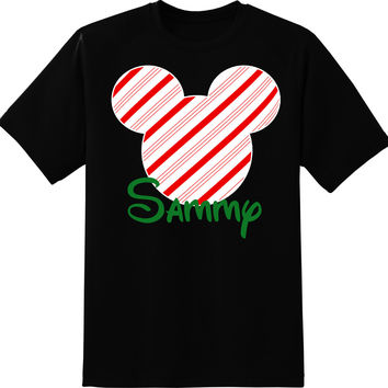 Christmas Candy Cane Mickey Mouse Personalized T-shirt with Name - Holiday shirt, Party shirt, Disney tripMinnie Peppermint