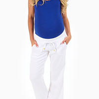 White Linen Maternity Yoga Pants